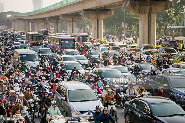 Morning traffic jam on Nguyen Trai Road Thanh Xuan District on November 4 2016 in Hanoi Vietnam Hanoi is ranked as one of the most polluted city in...