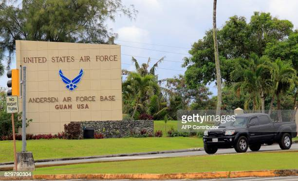 Morning traffic makes its way to the Anderson Air Force base in Yigo on the island of Guam on August 11 2017 Nucleararmed North Korea announced a...