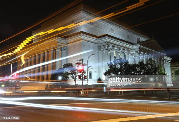 Morning traffic passes by the United States National Archives building on October 26 2017 in Washington DC Later today the National Archives will...