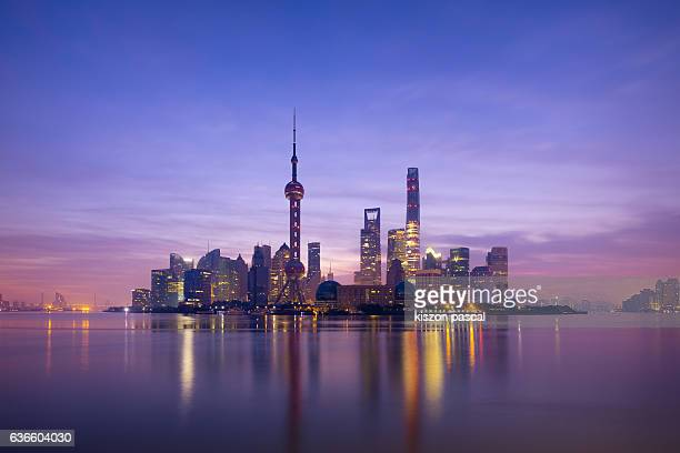 morning twilight in Shanghai Pudong ( Lujiazui ) ( China )