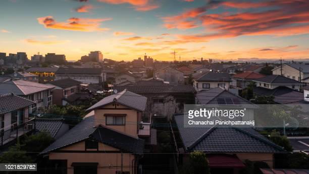 morning twilight scene over saga city, japan - 佐賀県 ストックフォトと画像