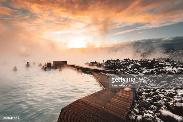 morning view at sunrise of blue lagoon in iceland - blue lagoon iceland stock pictures, royalty-free photos & images