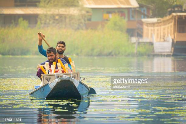 morning view during shikara ride at dal lake, kashmir. - shaifulzamri stock pictures, royalty-free photos & images