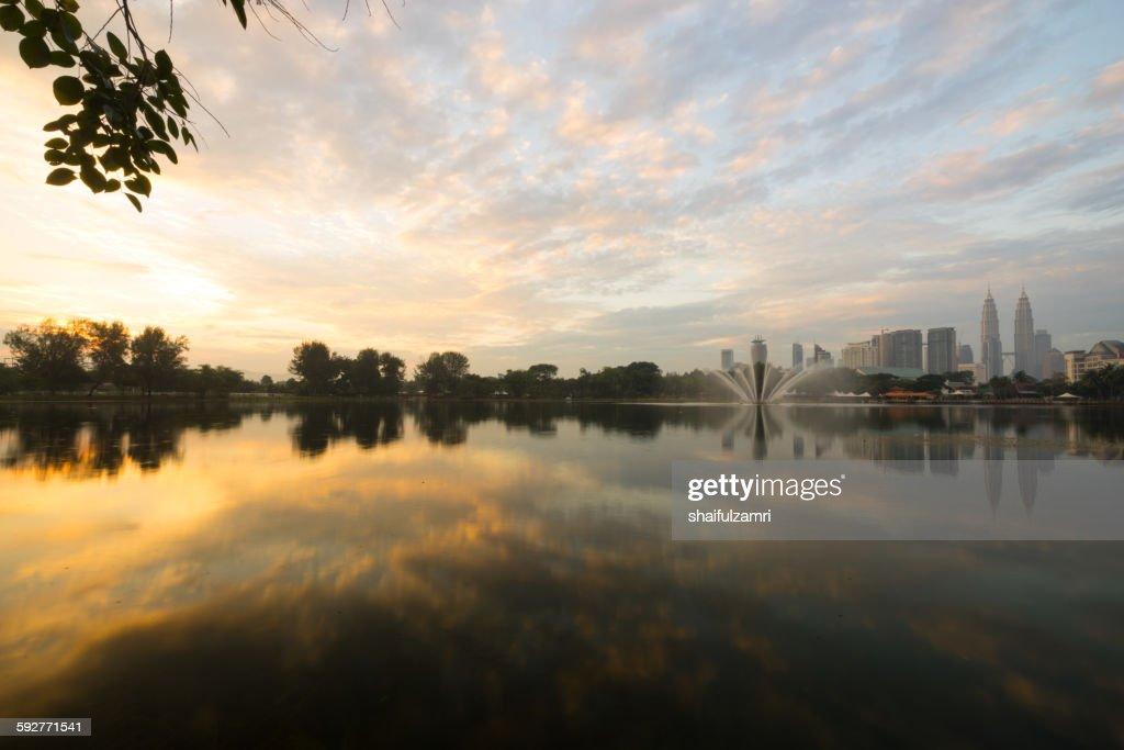 Morning view in lake Titiwangsa : Stock Photo