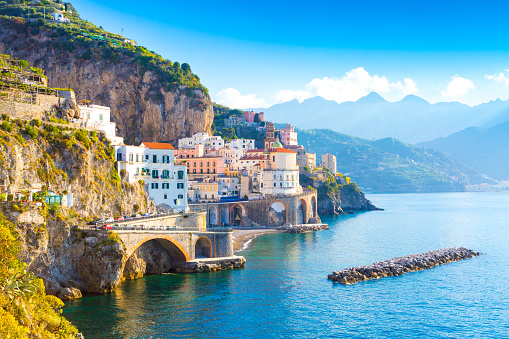 Morning view of Amalfi cityscape, Italy 961393138