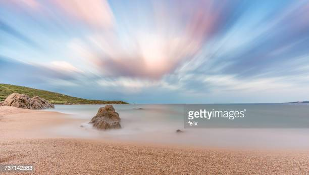 Morning view of beach, Propriano, Corsica, France
