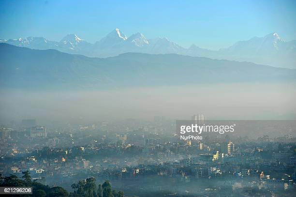 Morning view of Cityscape of Kathmandu along with hazy climate mountains seen from Chobhar Kirtipur Kathmandu Nepal on Saturday November 05 2016...