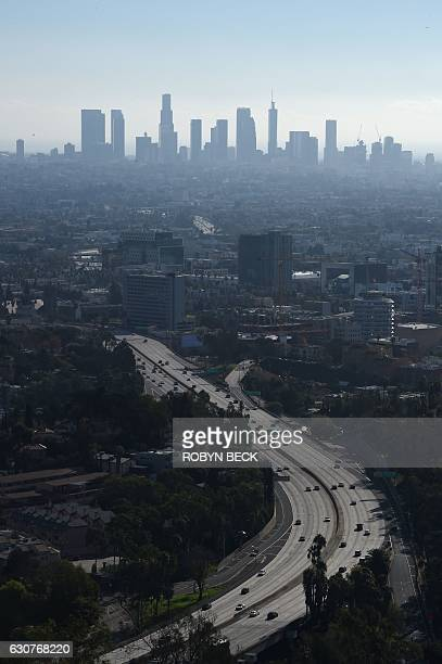 A morning view of downtown Los Angeles with the 101 freeway in the foreground January 1 2017 from the Hollywood Bowl Overlook in Hollywood California...