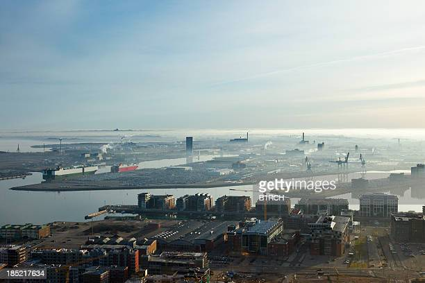 Morning view of Malmoe harbor in Sweden.