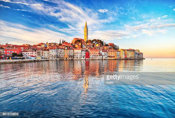 morning view of old town rovinj, croatia - eastern european stock pictures, royalty-free photos & images