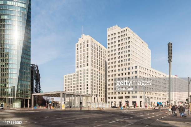 a morning view of potsdamer platz - berlin, germany - tag stock-fotos und bilder