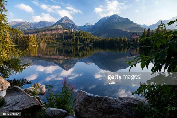 morning view of strbske pleso (lake) resort in high tatras mountains, slovakia - slovakia stock pictures, royalty-free photos & images