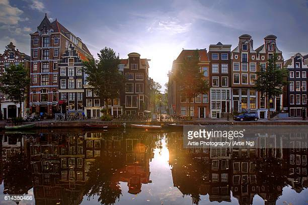 Morning View of the Amsterdam Canals, North Holland, Netherlands