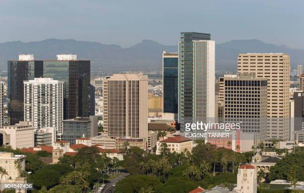 A morning view of the city of Honolulu Hawaii is seen on January 13 2018 Social media ignited on January 13 2018 after apparent screenshots of cell...
