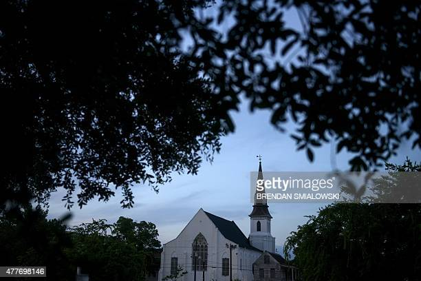 Morning view of the Emanuel AME Church June 19, 2015 in Charleston, South Carolina.US police arrested a white high school dropout Thursday suspected...