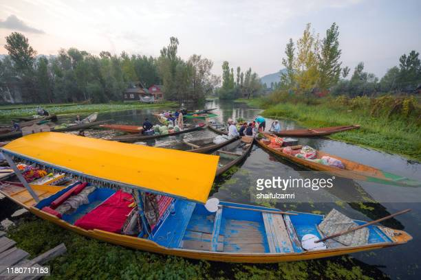 morning view of traditional floating market at dal lake of kashmir, india. - shaifulzamri fotografías e imágenes de stock