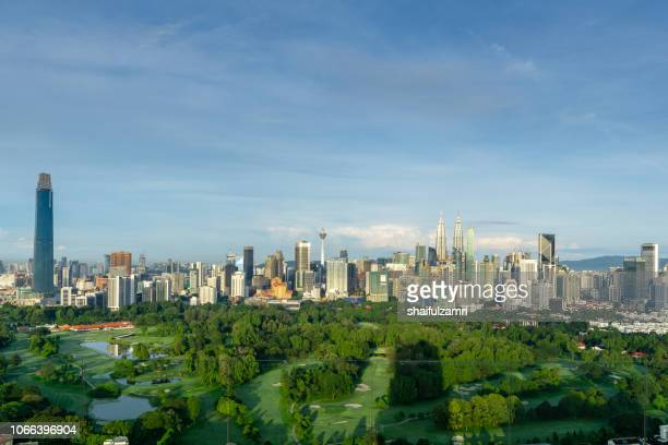 Morning view over Kuala Lumpur, capital of Malaysia. Its modern skyline is dominated by the 451m tall KLCC.