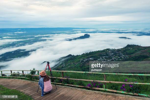morning view point with mountain mist and with a beautiful flower garden in  phu thap boek, phetchabun province - boek photos et images de collection