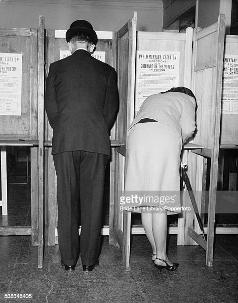 Morning voters in Lambeth Town Hall during the General Election, London, 15th October 1964.