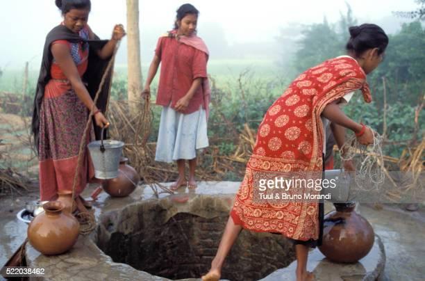 Morning water gathering by Tharu women in Nepal