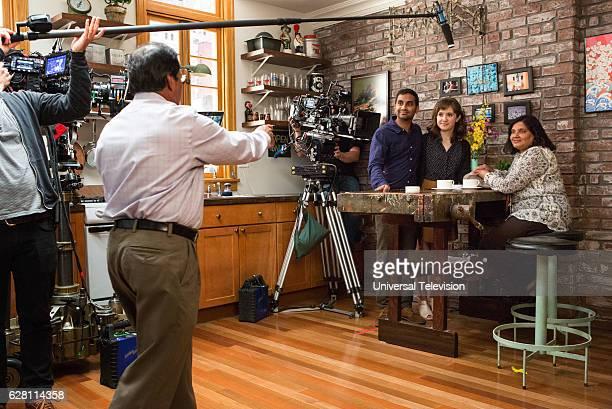 NONE 'Mornings' Episode 109 Pictured Shoukath Ansari as Ramesh Aziz Ansari as Dev Noël Wells as Rachel Fatima Ansari as Nisha
