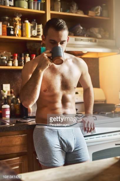 mornings won't be the same without coffee - homem de cueca imagens e fotografias de stock