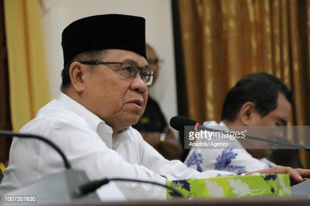 Moro Islamic Liberation Front Chairman Al Hac Murad Ebrahim holds a press conference after a meeting named 'Bangsamoro Consultation Meeting' held by...