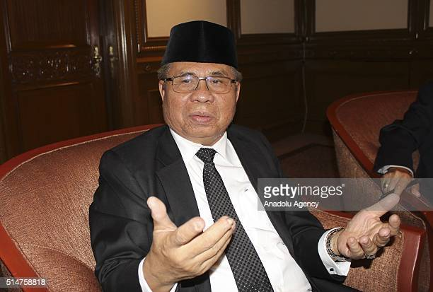 Moro Islamic Liberation Front chairman Murad Ebrahim speaks during an exclusive interview in Kuala Lumpur Malaysia on March 11 2016