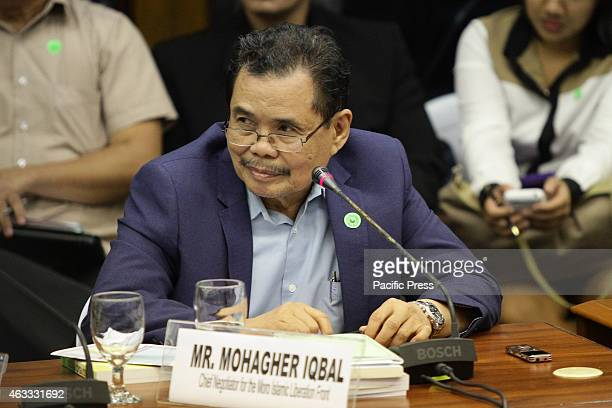 Moro Islamic Liberation Front Chief Negotiator Mohagher Iqbal attends the Senate probe on the Mamasapano clash in Maguindanao at the Senate 44...