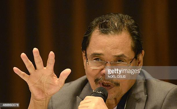 Moro Islamic Liberation Front Chief Negotiator Mohagher Iqbal gestures during a Foreign Correspondents Association of the Philippines forum in Manila...