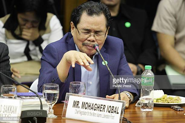 Moro Islamic Liberation Front Chief Negotiator Mohagher Iqbal speaks during the Senate probe on the Mamasapano clash in Maguindanao at the Senate 44...