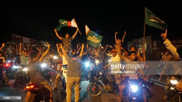 Moro Muslims celebrate after Bangsamoro Organic Law which creates Bangsamoro Autonomous Region that allows major autonomy to Moro Muslims gets...
