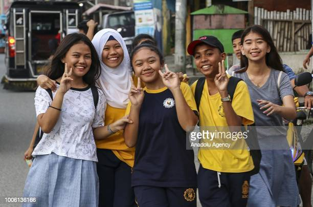 Moro Muslims children pose for a photo in Cotabato Philippines on July 26 2018 Philippines President Rodrigo Duterte ratified the proposed Bangsamoro...
