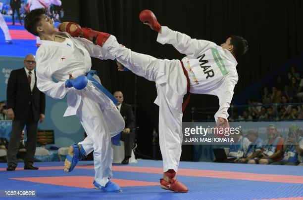 Morocan Oussama Edari and Iranian Alireza Farajikouhikheili compete in the Men's Kumite 61 kg qualifying bout during the Youth Olympic Games in...