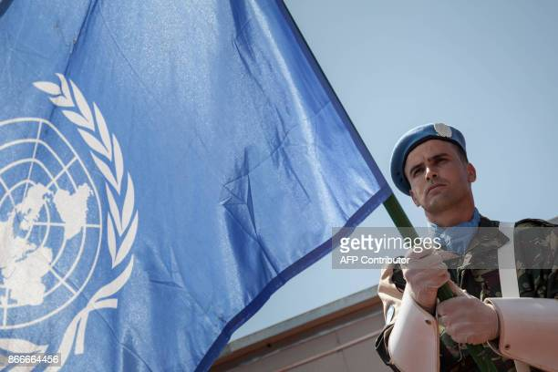 A Morocan peacekeeper stands at the United Nations Multidimensional Integrated Stabilization Mission in The Central African Republic base in...