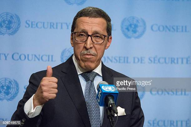 Moroccan Ambassador to the UN Omar Hilale speaks to the press Following the renewal of the mandate for the UN Peacekeeping Mission in the Western...