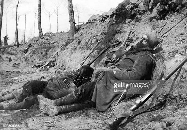 Moroccan and Algerian troops of the French 45th and 78th divisions lay dead in their trench close to the Belgian town of Ypres following the first...