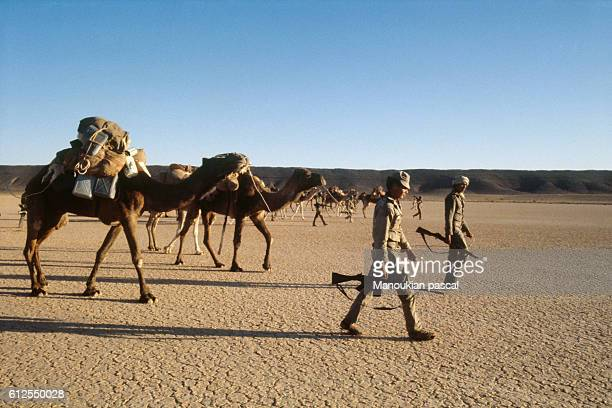 Moroccan army patrol in the western Sahara following a territorial dispute with the Polisario Front's Sahrawi Arab Democratic Republic
