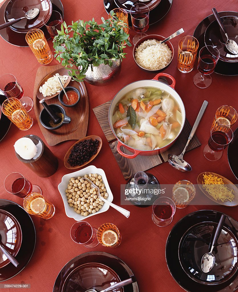 Moroccan chicken soup, overhead view : Foto de stock