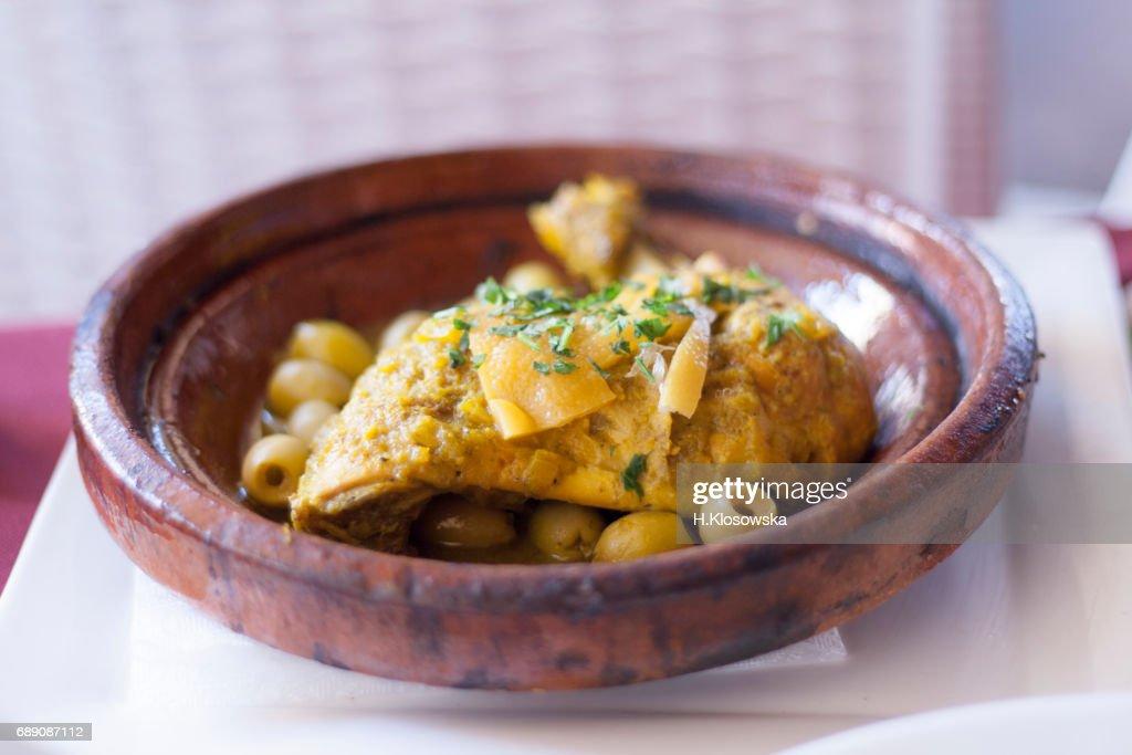 moroccan chicken tajine dish : Stock Photo
