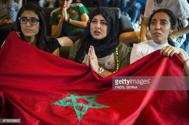 TOPSHOT Moroccan football fans react while watching the Russia 2018 World Cup Group B match against Iran on June 15 in Voronezh