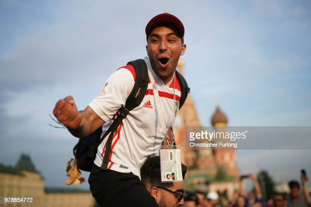 Moroccan football fans sing and cheer in Red Square during The World Cup Tournament on June 19 2018 in Moscow Russia