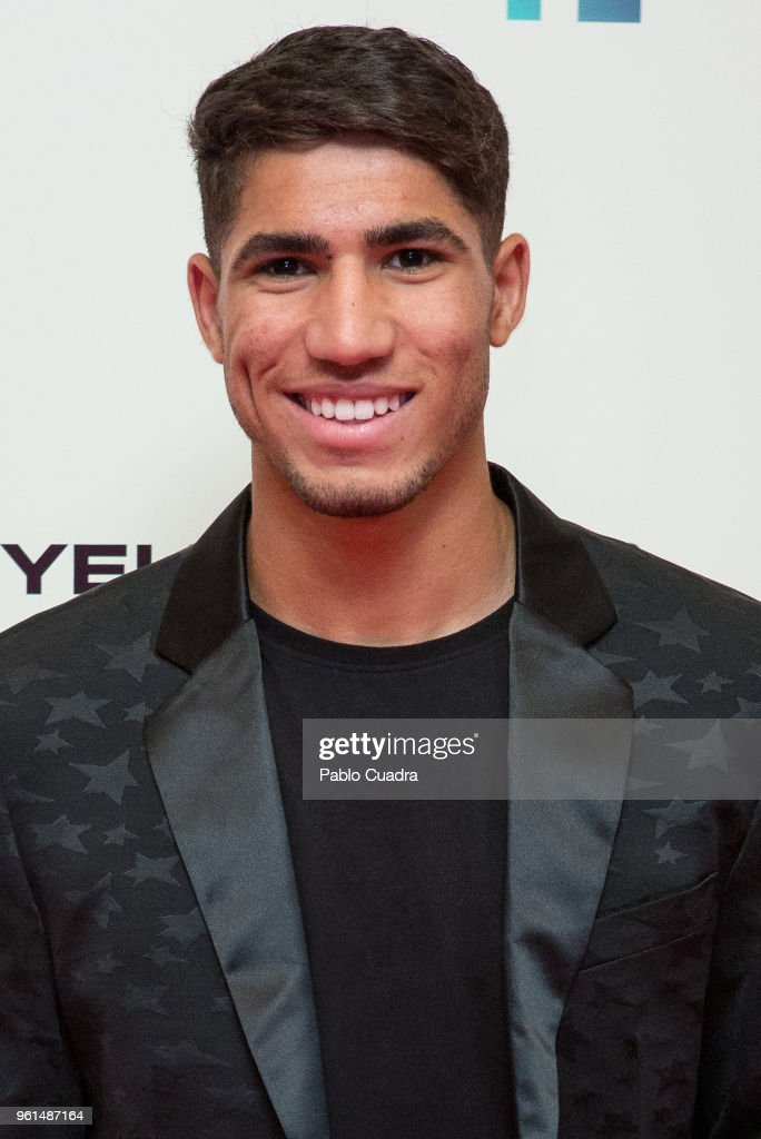 Moroccan football player of Real Madrid Achraf Hakimi attends the 'Hombre De Fe' premiere at Yelmo cinema on May 22, 2018 in San Sebastian de los Reyes, Spain.