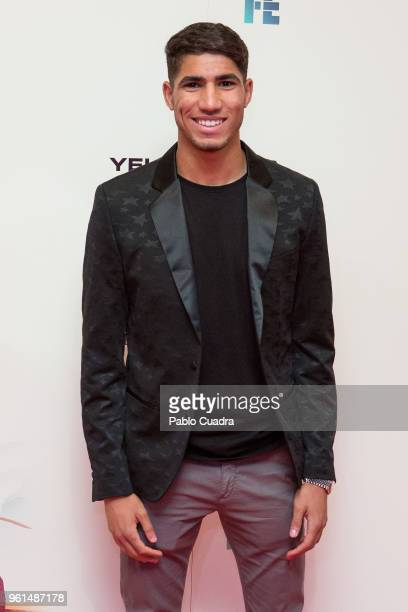 Moroccan football player of Real Madrid Achraf Hakimi attends the 'Hombre De Fe' premiere at Yelmo cinema on May 22 2018 in San Sebastian de los...