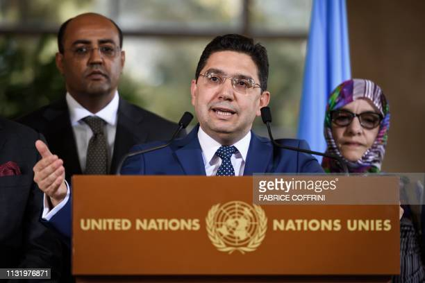 Moroccan Foreign Minister Nasser Bourita addresses the media following a twoday round of talks on ending the Western Sahara conflict at the United...