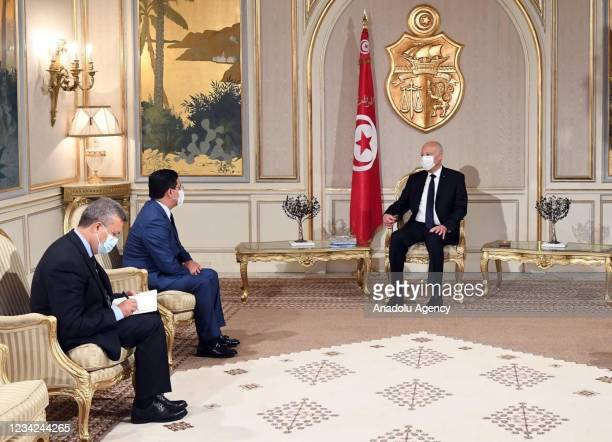 Moroccan Foreign Minister Nasser Bourita meets Tunisian President Kais Saied at the Carthage Palace in Tunis, Tunisia on July 27, 2021.
