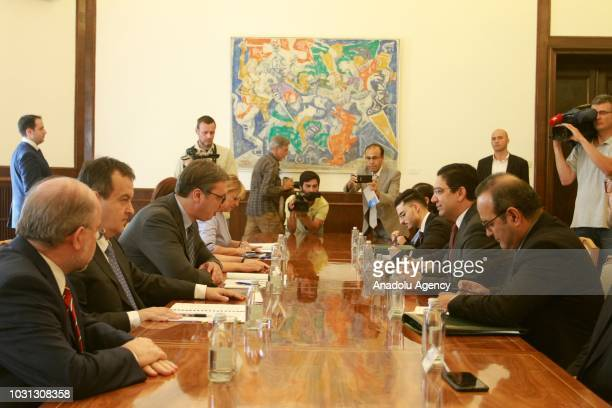 Moroccan Foreign Minister Nasser Bourita meets with Serbian President Aleksandar Vucic in Belgrade Serbia on September 11 2018