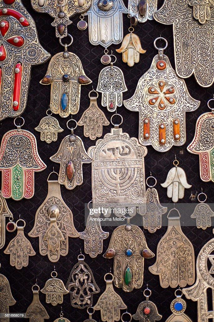 Moroccan Hamsa Hand Pendants In The Fez Medina Stock Photo Getty