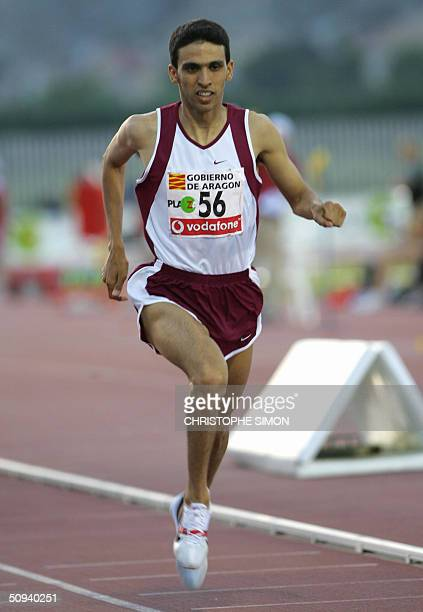Moroccan Hicham El Guerrouj wins the 1500m at the International Athletic meeting in Zaragoza 08 June 2004. AFP Photo Christophe SIMON