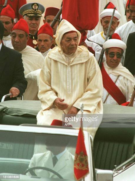 Moroccan King Hassan II parades 04 March in the capital Rabat with local officials from all over the country during ceremonies marking the 37th...
